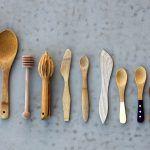 an array of wooden kitchen utensils