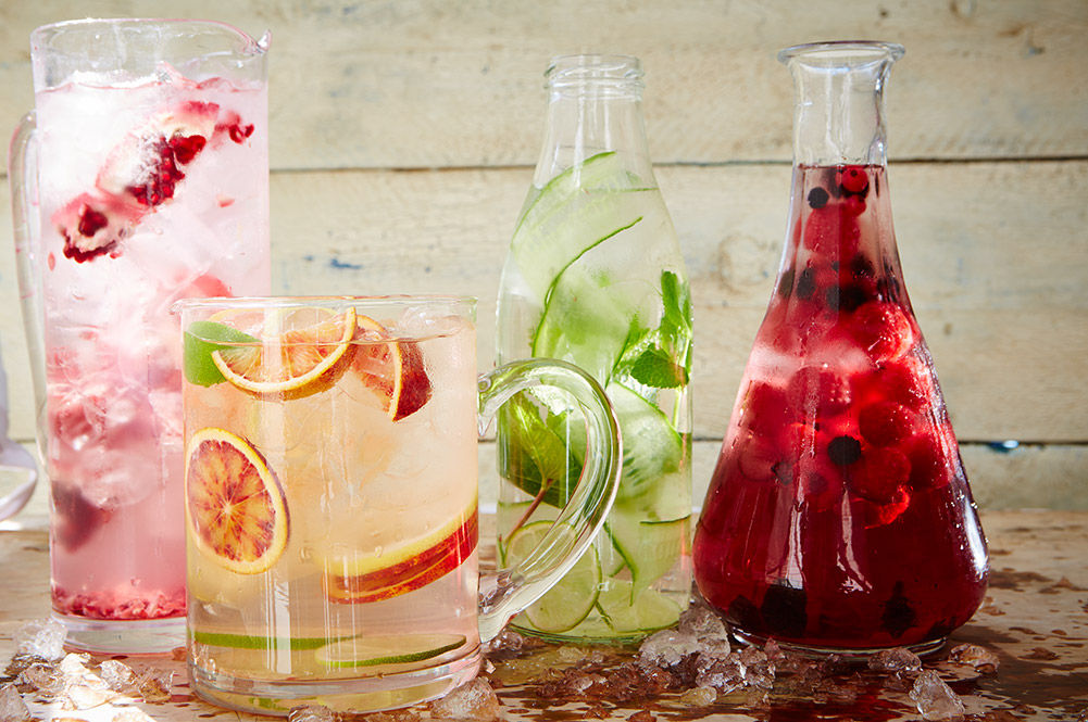 fruit infused water with ice