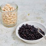 beans and pulses in jar and bowl
