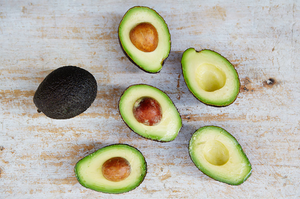 avocados cut into half