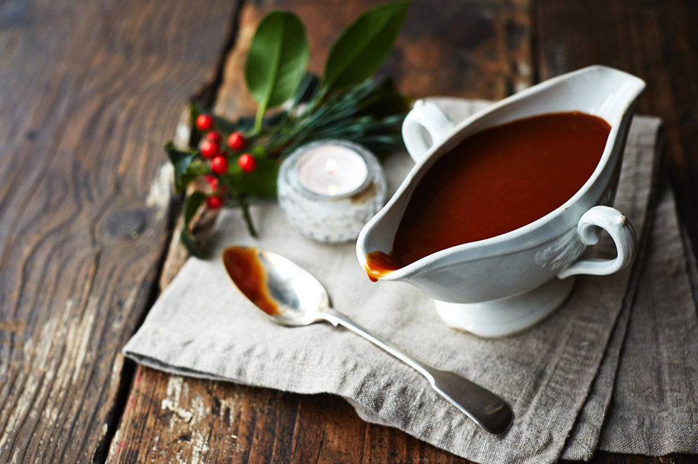 vegan christmas fresh gravy in a gravy boat