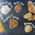 wholegrain products on black table with name of item beside it