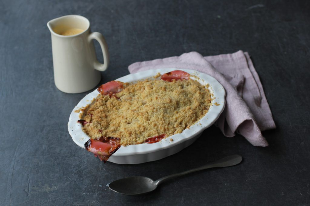 rhubarb crumble with custard on the side