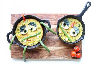Making fruit and veg fun for kids: omelette monsters