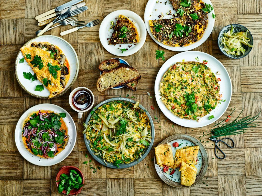 an array of omelette recipes with veg and coriander on top in a flat lay