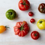 Seasonal vegetables, different types and colours of tomatoes