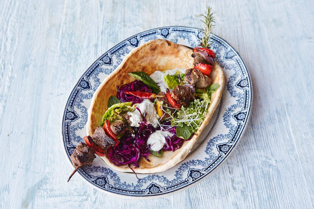 healthy lunches for kids - kebab and pitta with veg
