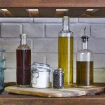 olive oils, salt and pepper in cupboard