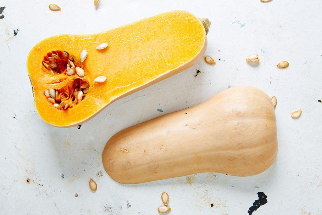 squash ravioli recipe - butternut squash cut in half