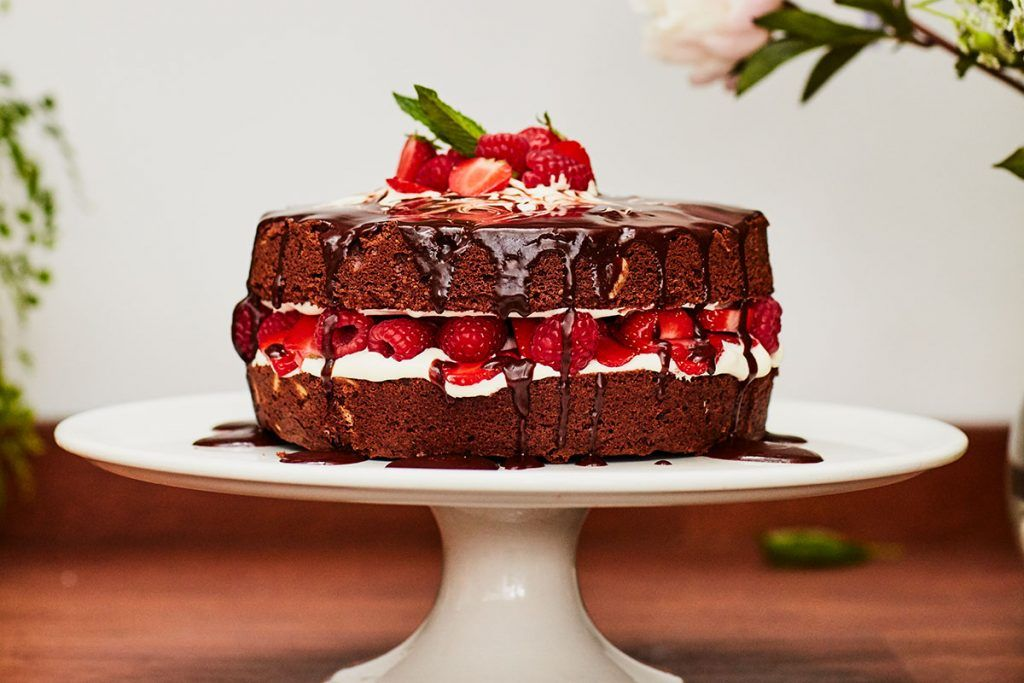 Christmas bakes for the perfect chocolate cake recipe with strawberries and cream