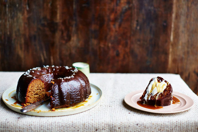 sticky toffee pudding with cream and drizzled toffee