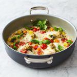 easy, healthy meals one pan fish with basil, tomatoes and rice