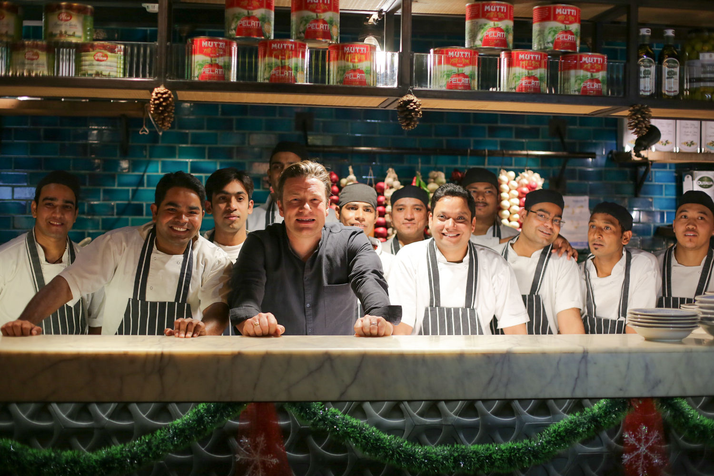 Jamie with some Jamie's Italian staff in Delhi