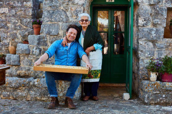 Jamie with a nonna in Puglia
