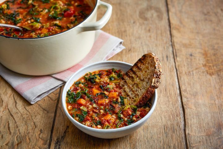 Jamie for Tesco pearl barley & chorizo soup