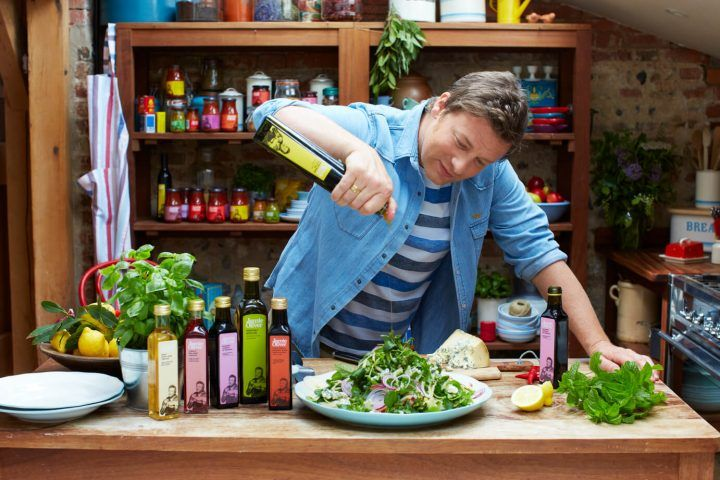 Jamie Oliver cooking with his Viva oils