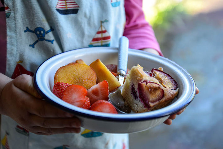 Image of a bowl of plum cake