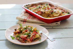 Easy potato gratin with cheese & bacon