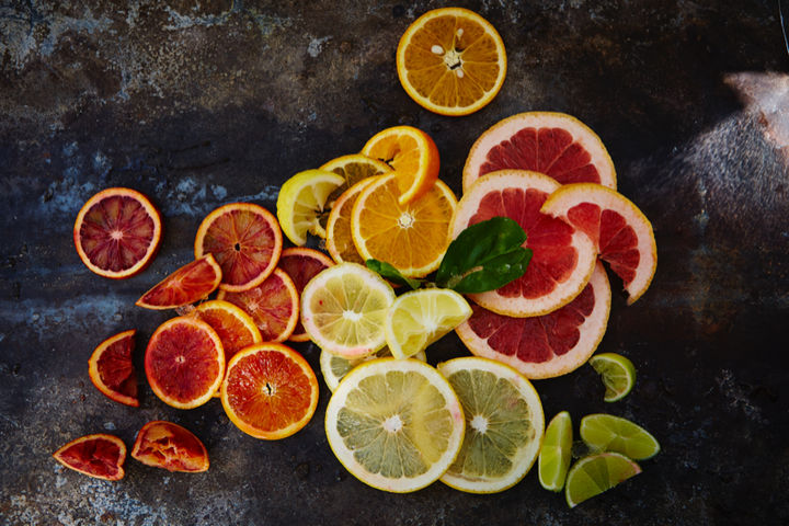 Image of slices of lemon, blood orange, oranges and limes (natural sugars)