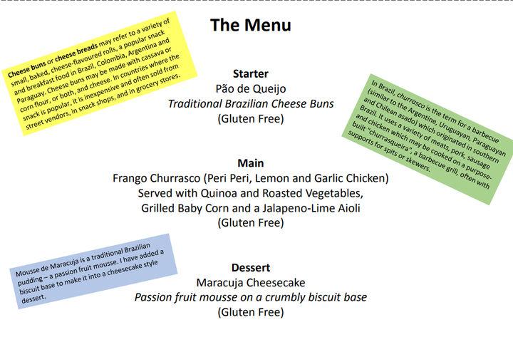Winning menu - cooking skills competition