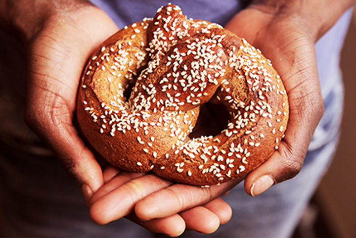 Sesame seeds on pretzels