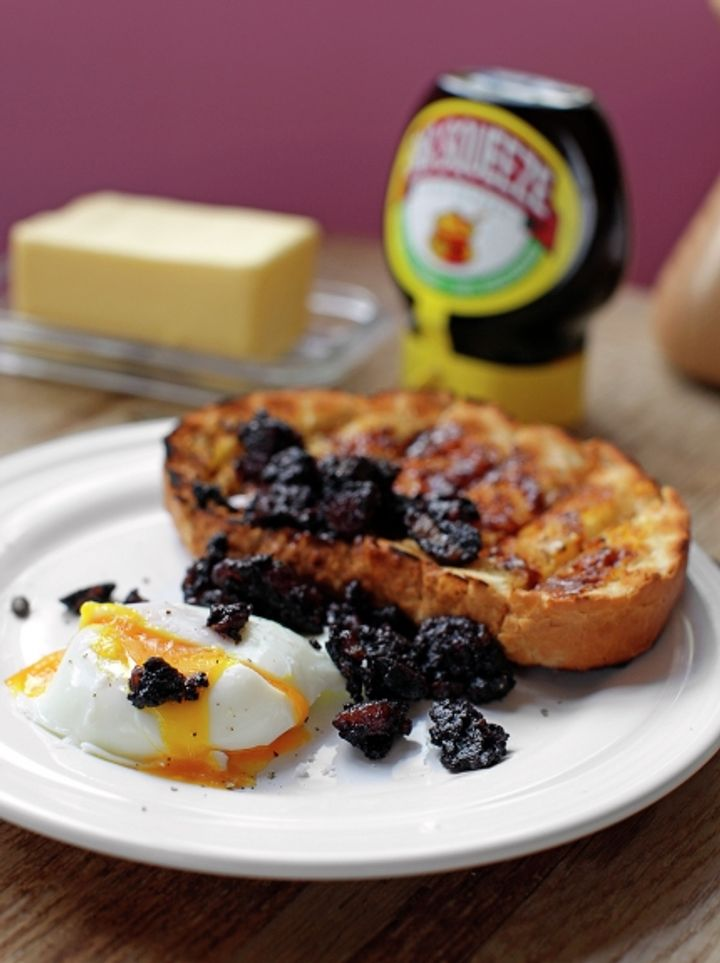 Black pudding & poached eggs