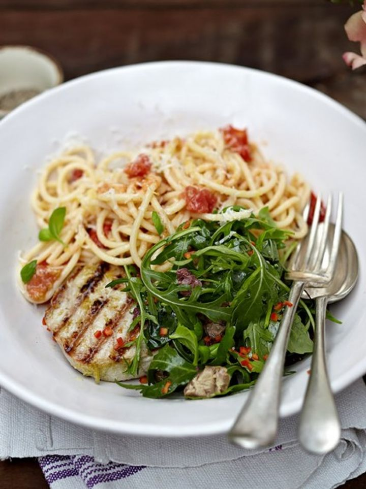 Seafood pasta - grilled tuna