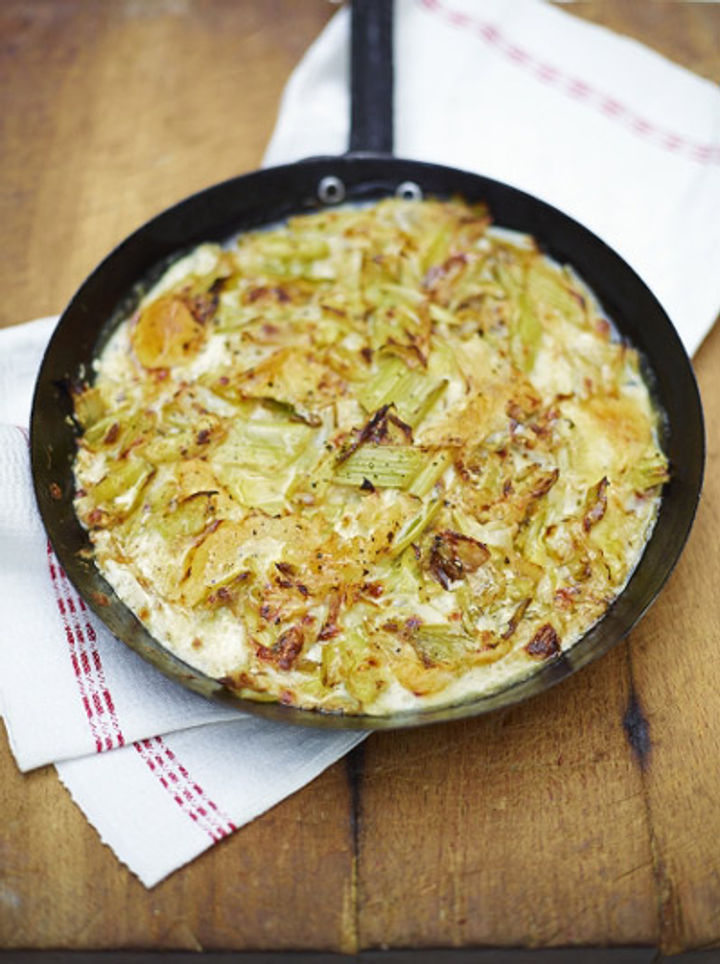 pan of cooked cheesy leeks, in season in February