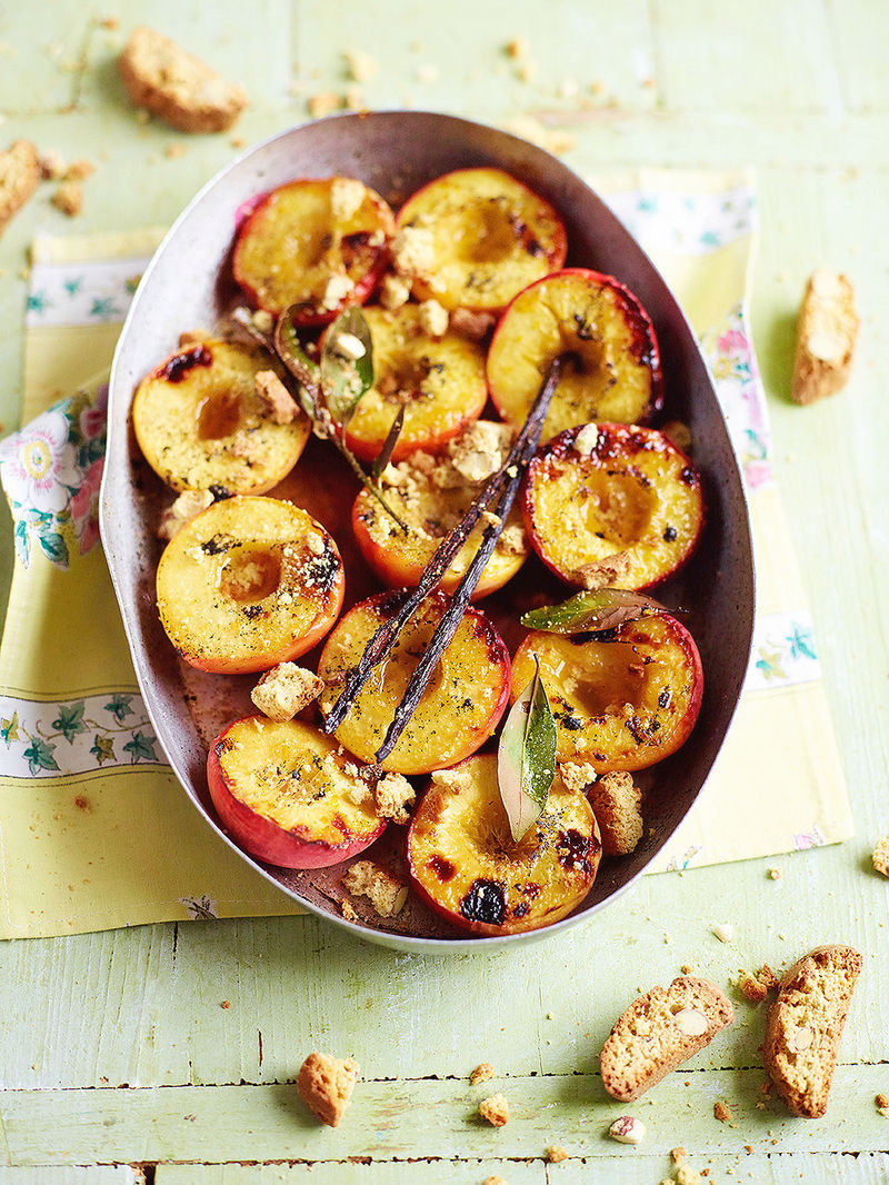 Grilled peaches with brandy & bay