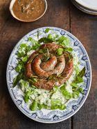 Catherine wheel sausage with watercress champ