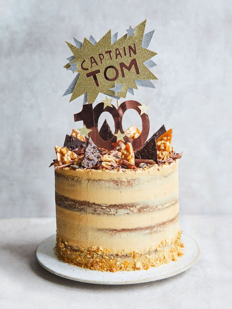 Capt. Tom Moore's coffee & walnut birthday cake