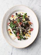 Tasty warm lentil salad
