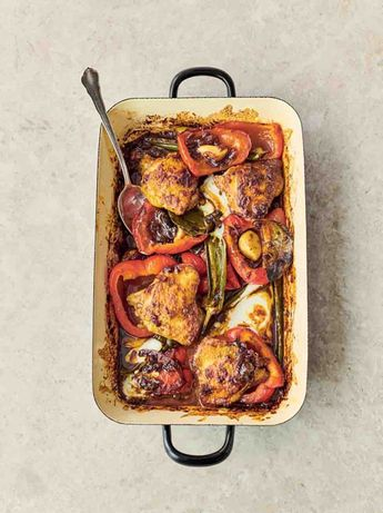 Pepper & chicken jalfrezi traybake