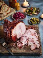 Mulled wine glazed ham