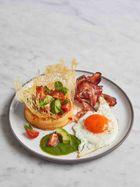 Avocado & bacon eggy crumpets