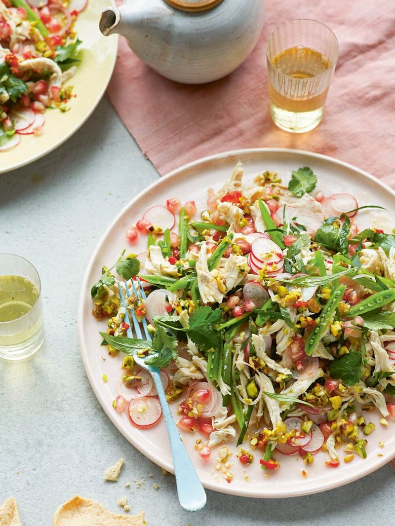 Chicken salad with sugar snap peas, Vietnamese coriander & shallots