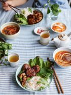 Caramelised pork belly slices & patties noodle salad