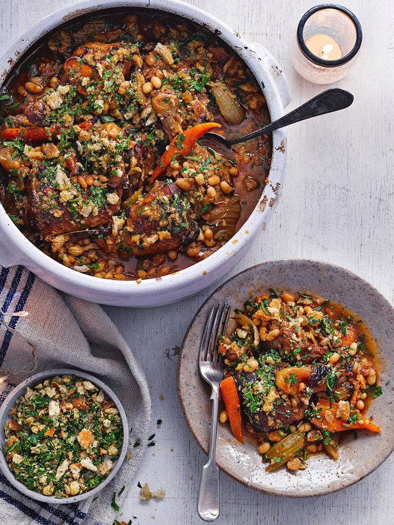 Duck & apple cassoulet with a herby crust