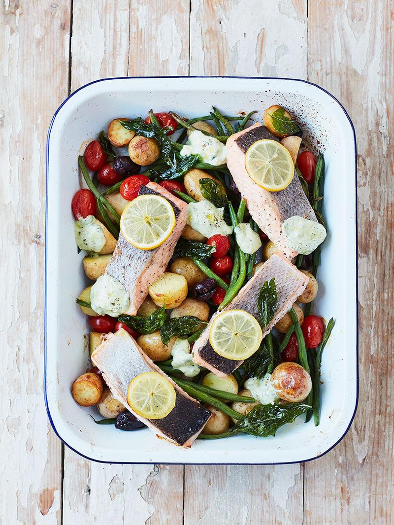 Roasted salmon & veg traybake