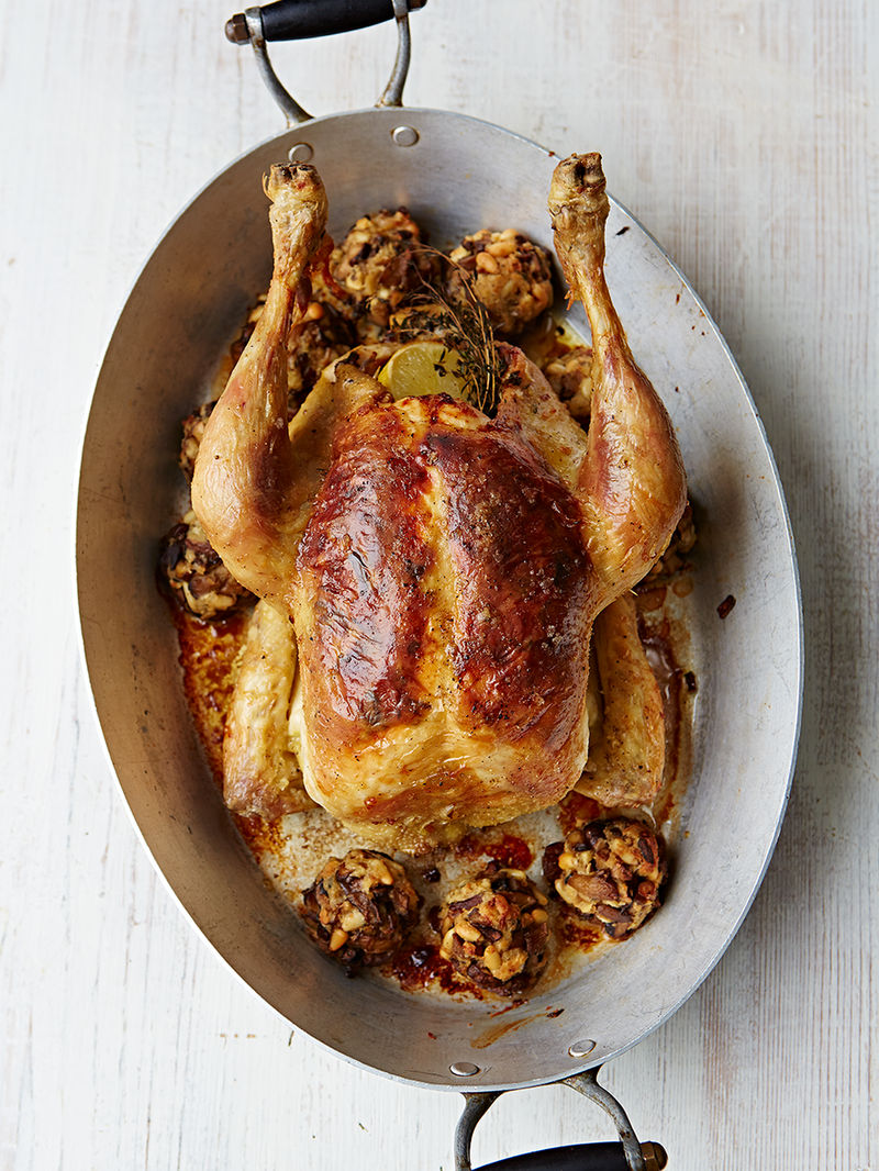Roast chicken with mixed mushroom stuffing