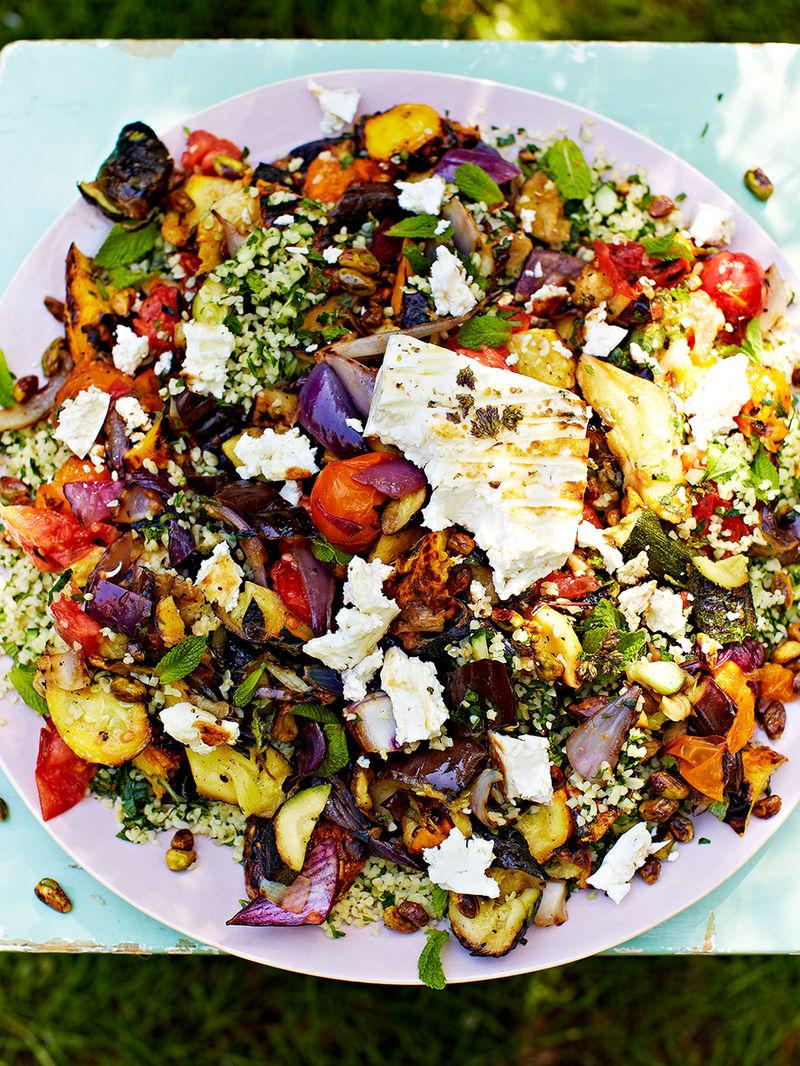 Griddled vegetables & feta with tabbouleh