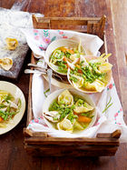 Chicken broth with tortellini