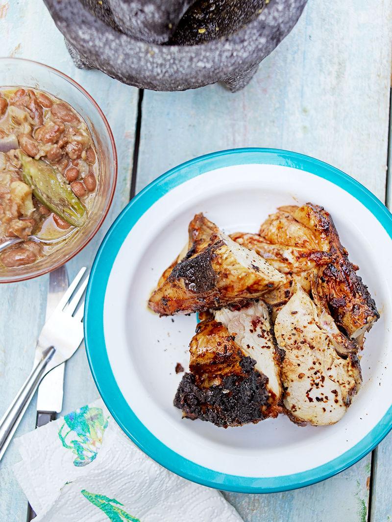 Chilli chicken with drunken pinto beans