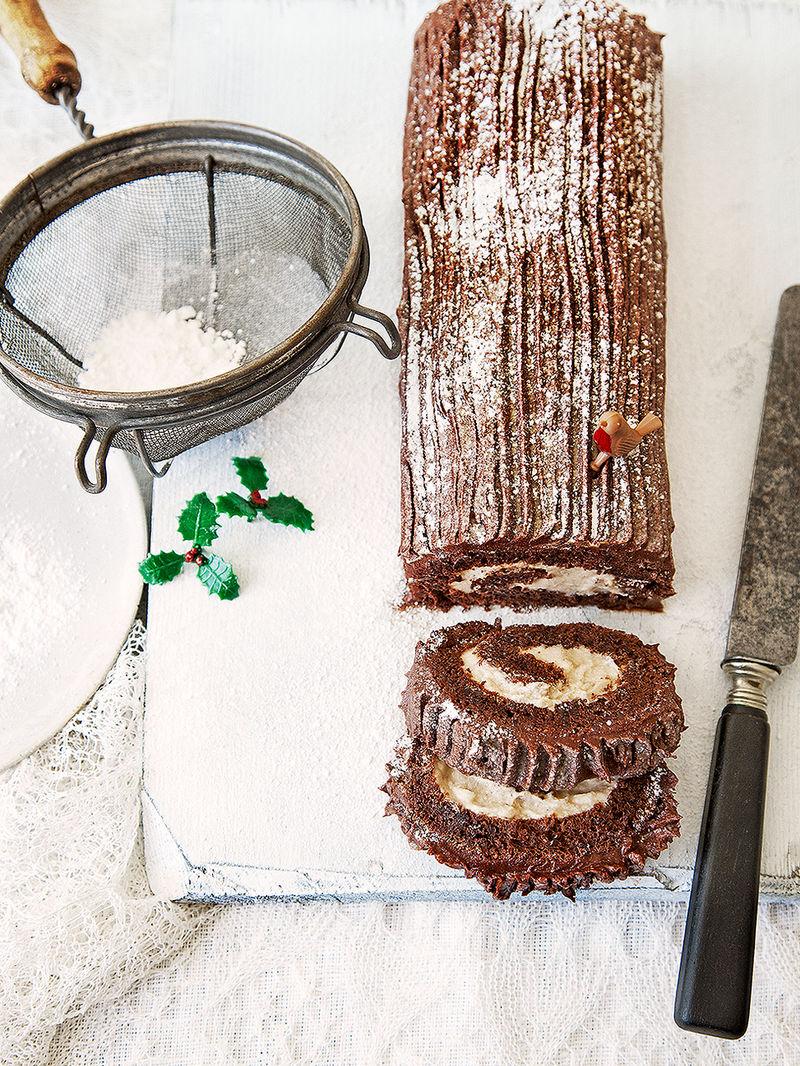 Chocolate & chestnut yule log