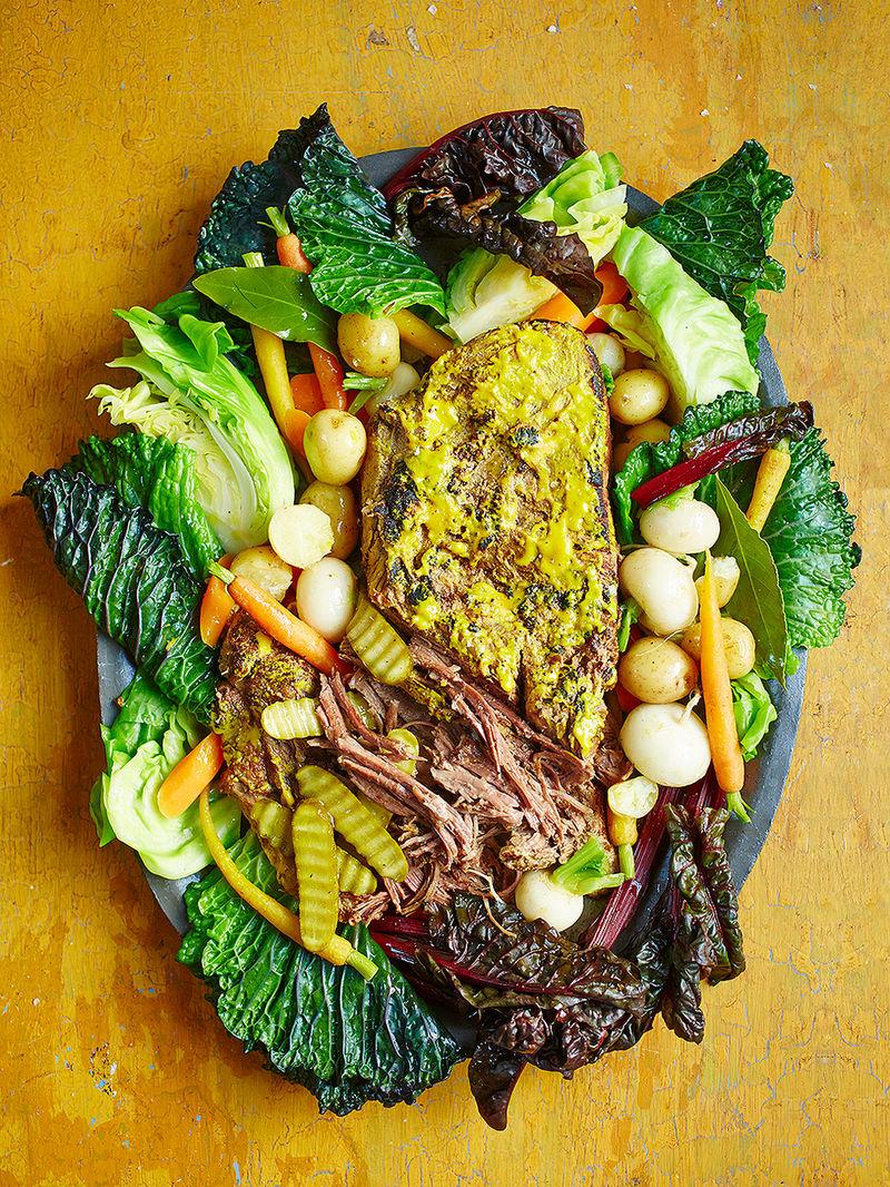 Mustard brisket with veg & beef broth