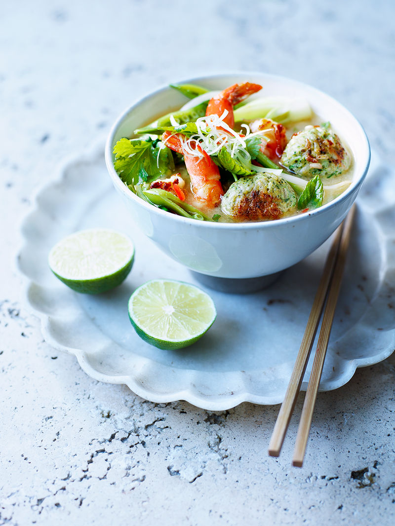 Asian-inspired chicken rice balls & broth