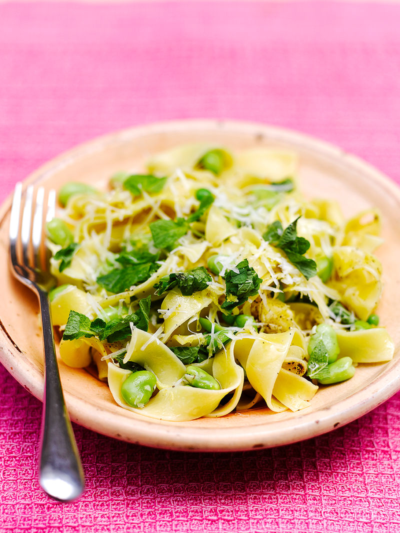 Pappardelle with peas, broad beans & pecorino