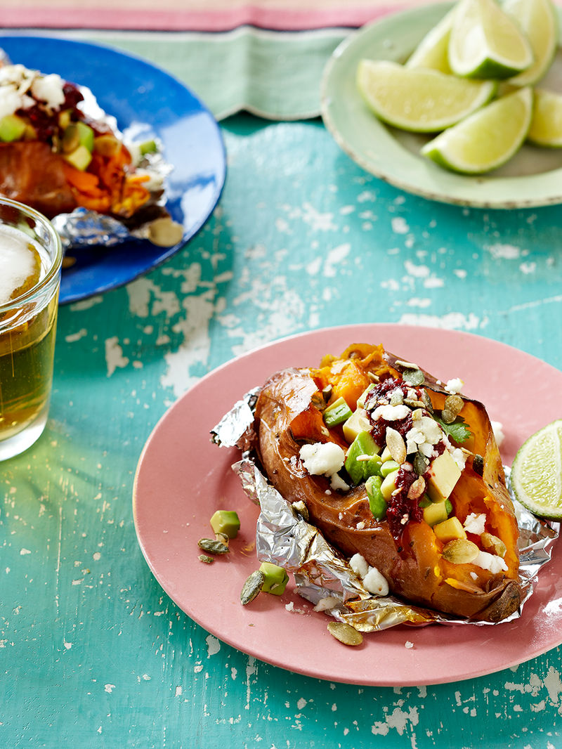 Baked Sweet Potatoes Avocado And Queso Fresco Vegetable Recipes Jamie Oliver
