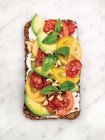 Avocado on rye toast with ricotta