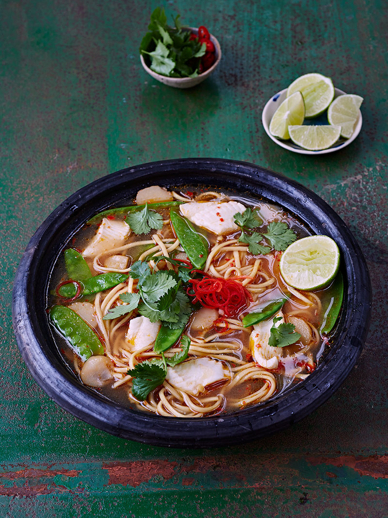 Fish Broth Noodles Fish Recipes Jamie Oliver Recipes